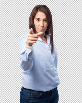 Vrouw wijzend naar voren