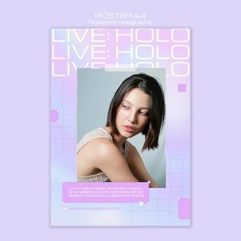 Vrouwelijk model digitalisme holografische flyer-sjabloon