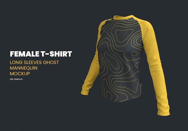 Vrouwelijk t-shirt met lange mouwen ghost mannequin mockup
