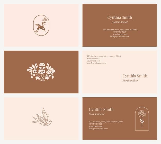 Vrouwelijke naamkaartsjabloon psd set