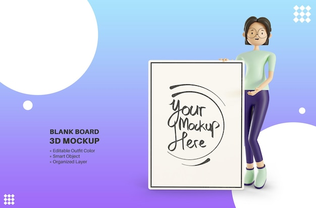Vrouwelijke personage met lege whiteboard 3d-rendering mockup