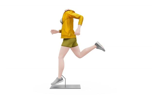 Vrouwelijke sport outfit mock-up geïsoleerd