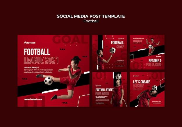 Vrouwelijke voetbal posts op sociale media