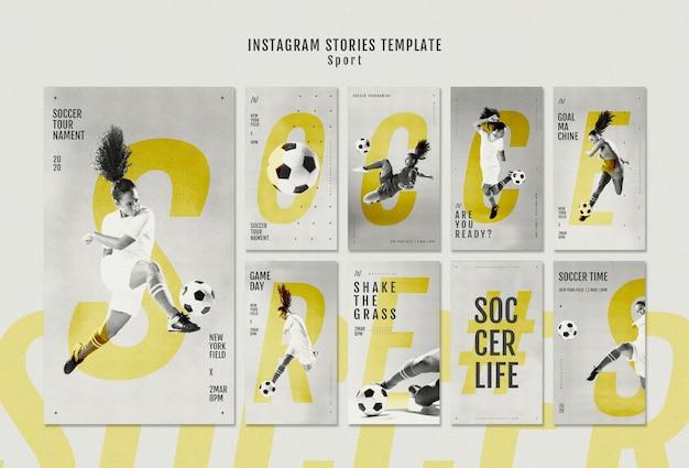 Vrouwelijke voetbalster instagram verhalen Gratis Psd