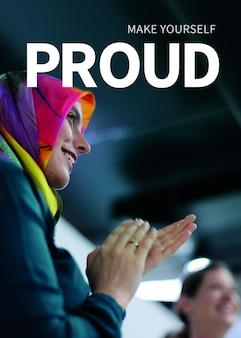 Vrouwen empowerment carrière sjabloon psd poster artsmoslim ambassadeur inspirerende citaat