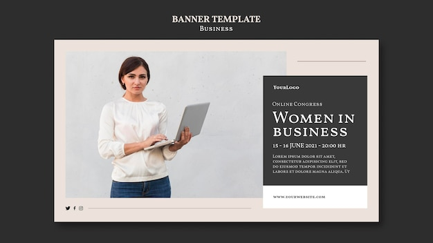 Vrouwen in zakelijke sjabloon voor horizontale spandoek