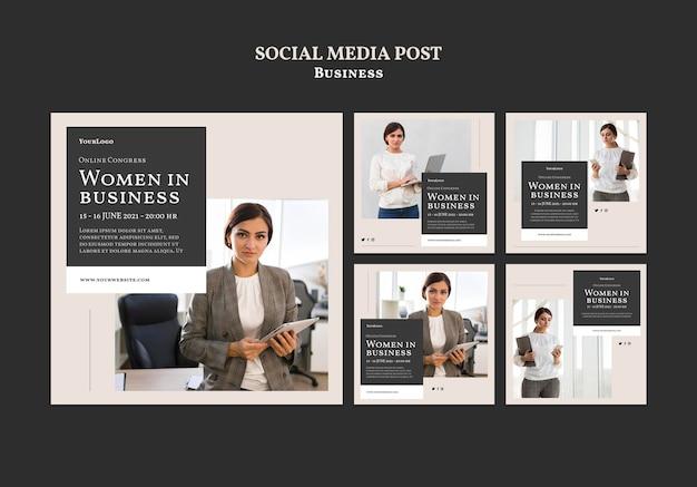 Vrouwen in zakelijke sociale media plaatsen