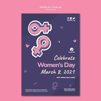 Vrouwendag folder sjabloon geïllustreerd