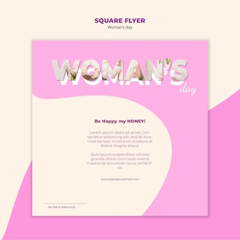 Vrouwendag vierkante flyer stijl