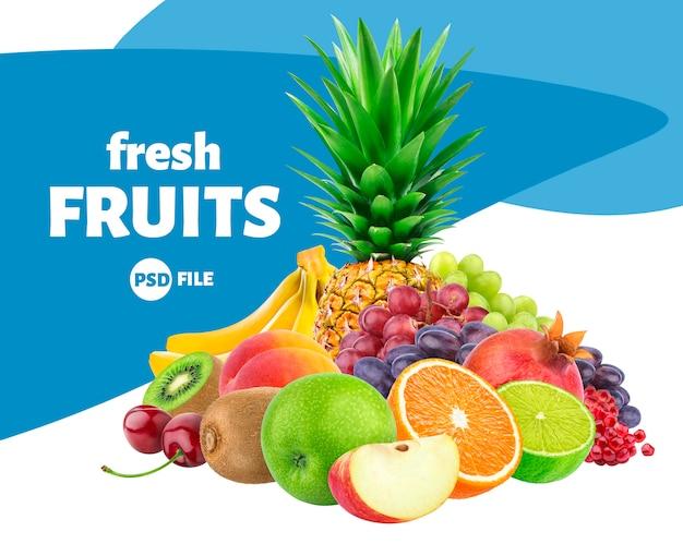 Vruchten en bessenassortiment op wit wordt geïsoleerd dat
