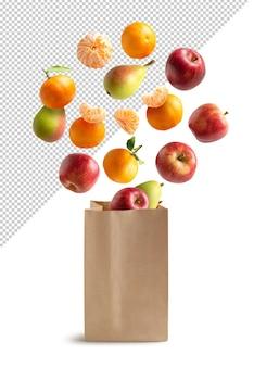 Vruchten vliegen in een recyclebare papieren zak