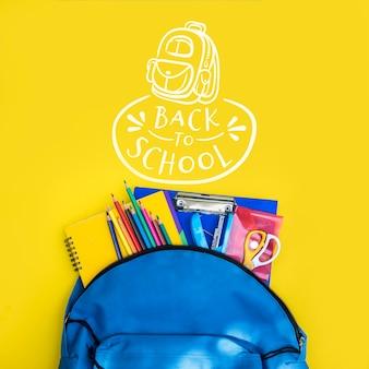 Vuelta al colegio, mochila con accesorios de estudiantes
