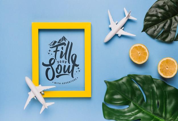 Vul je ziel, motiverende belettering citaat voor vakantie reizen concept