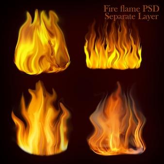 Vuur vlammen instellen collectie