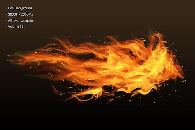 Vuur vlammen op zwart
