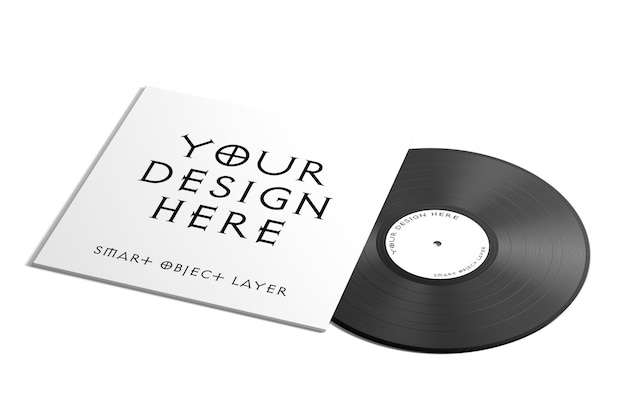 Vynil platenlabel mock up