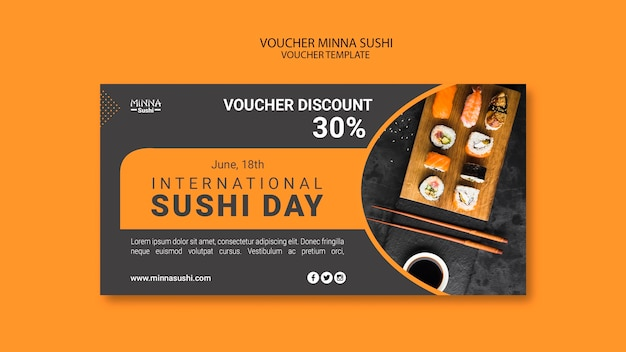 Waardebon sjabloon voor internationale sushi dag