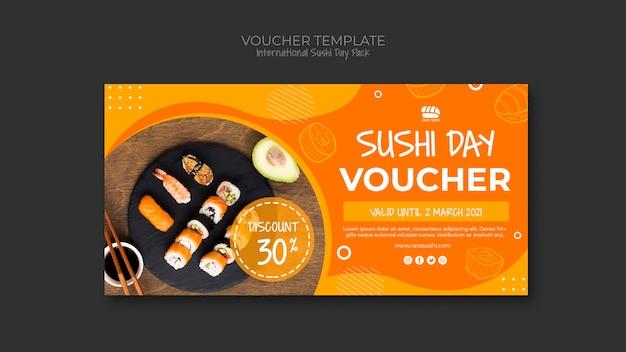 Waardebon sjabloon voor sushi restaurant