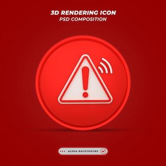 Waarschuwingspictogram in 3d-rendering