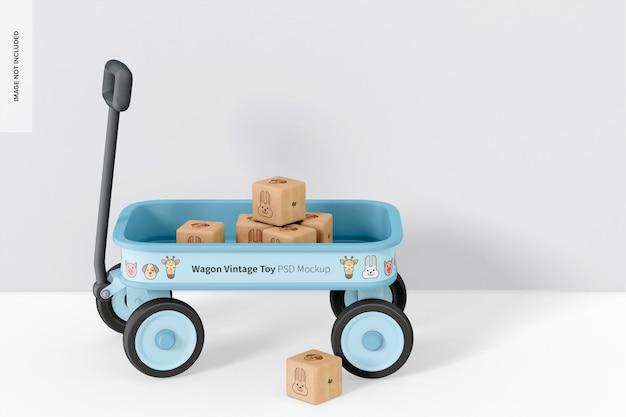 Wagon vintage speelgoed met houten blokken mockup