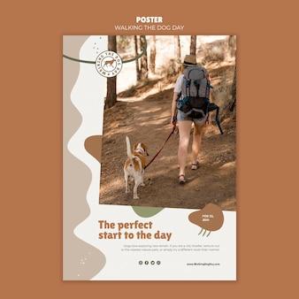 Walking the dog day advertentie poster sjabloon
