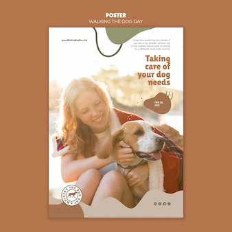 Walking the dog day flyer-sjabloon