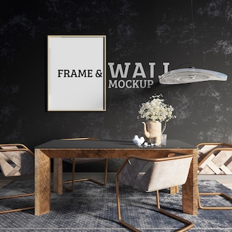 Wall and frame mockup - sala da pranzo decorata in stile industriale