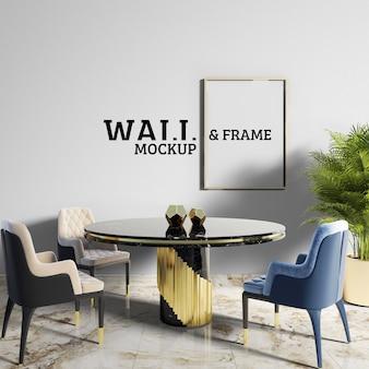 Wall and frame mockup - sala da pranzo in stile neoclassico