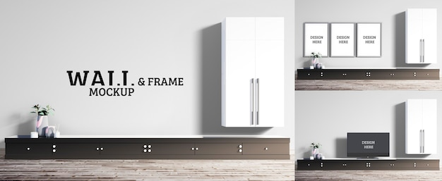 Wall and frame mockup - woonkamer in moderne stijl met zwarte tv-kast