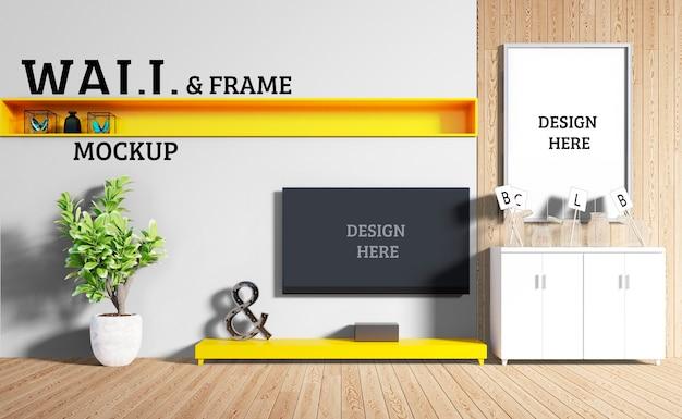 Wall and frame mockup - woonkamer met modern meubilair