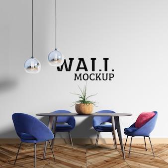 Wall mockup - de eetkamer heeft blauwe stoelen
