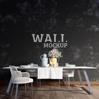 Wall mockup - de eetkamer heeft donkere muren die de eettafel accentueren