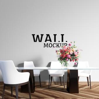 Wall mockup - de eetkamer heeft een grote glazen tafel