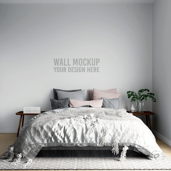 Wall mockup interieur scandinavische slaapkamer achtergrond