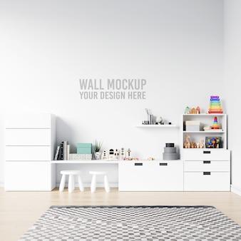 Wall mockup interior kids playroom with decorations