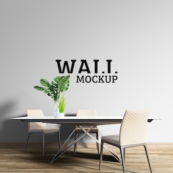 Wall mockup - neoklassieke eetkamer beige tinten