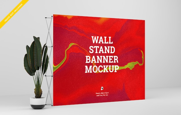 Wall stand banner mockup.