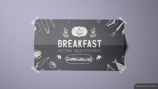 Wallpaper afgedrukt poster mockup design in 3d-rendering met tapes in de hoeken