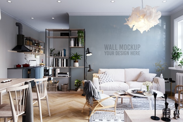 Walpaperl mockup interieur scandinavische woonkamer achtergrond