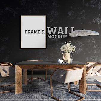 Wand- en lijstmockup - ingerichte eetkamer in industriële stijl