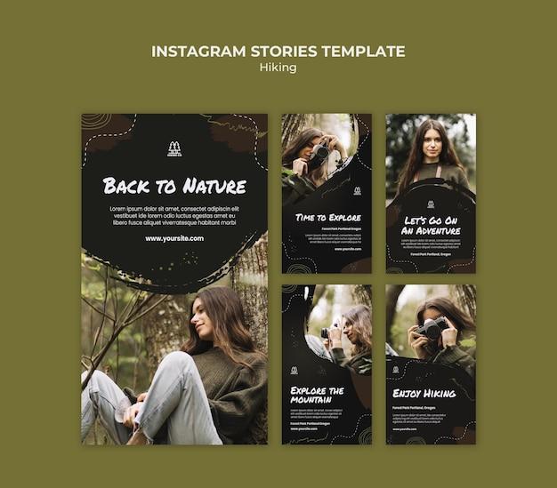 Wandelen advertentie instagram verhalen sjabloon
