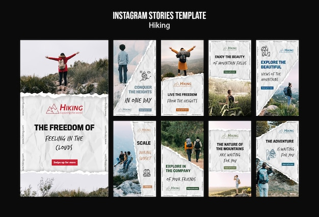 Wandelen instagram verhalen sjabloon