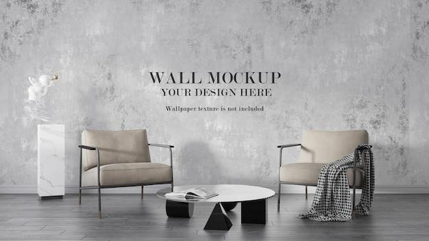 Wandmodel achter fauteuils met metalen frame