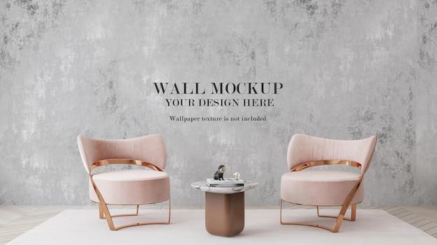 Wandmodel achter moderne roze fauteuils