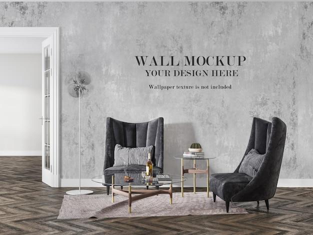 Wandmodel in interieur met fauteuils met hoge rugleuning