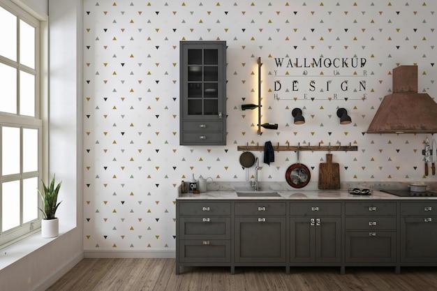 Wandmodel in zwart-wit moderne keuken