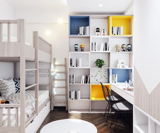 Wandmodel kinderkamer slaapkamer met decoraties