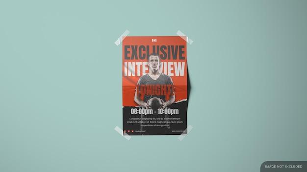 Wandpapier gedrukt poster mockup-ontwerp in 3d-rendering met tapes in de hoeken