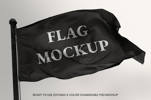 Wapperende vlag psd mockup met ontwerpruimte design