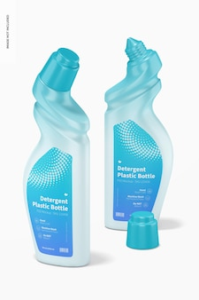 Wasmiddel plastic flessen mockup